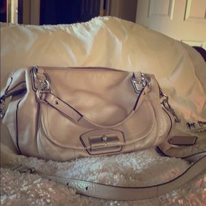 Coach pearilized beige tote with shoulder strap